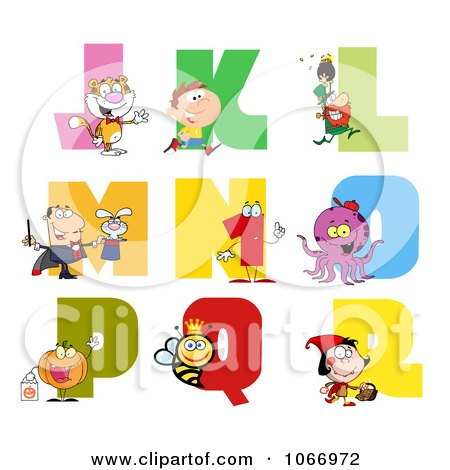 Clipart Visual Alphabet J Through R - Royalty Free Vector Illustration by Hit Toon