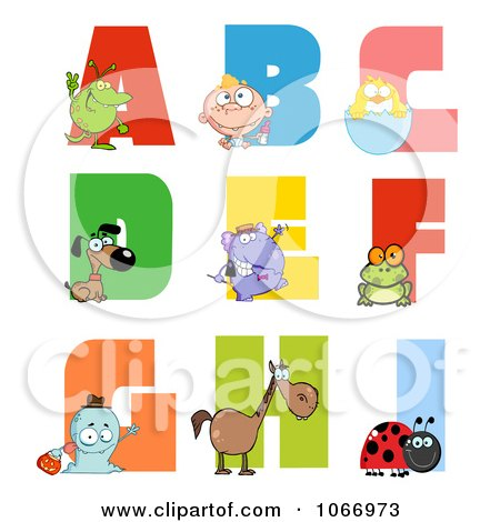 Clipart Visual Alphabet A Through I - Royalty Free Vector Illustration by Hit Toon