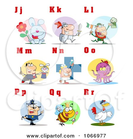 Clipart Alphabet Letters And Pictures J Through R - Royalty Free Vector Illustration by Hit Toon