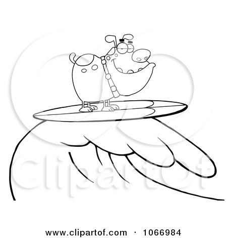 Clipart Outlined Surfing Bulldog Riding A Wave - Royalty Free Vector Illustration by Hit Toon