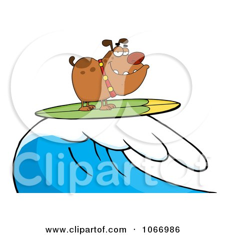 Clipart Surfing Bulldog Riding A Wave - Royalty Free Vector Illustration by Hit Toon