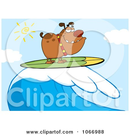 Clipart Surfer Bulldog Riding A Wave - Royalty Free Vector Illustration by Hit Toon