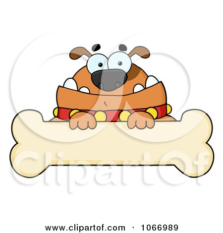 Clipart Brown Bulldog And Bone Sign - Royalty Free Vector Illustration by Hit Toon