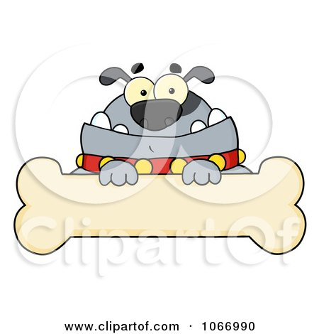 Clipart Gray Bulldog And Bone Sign - Royalty Free Vector Illustration by Hit Toon