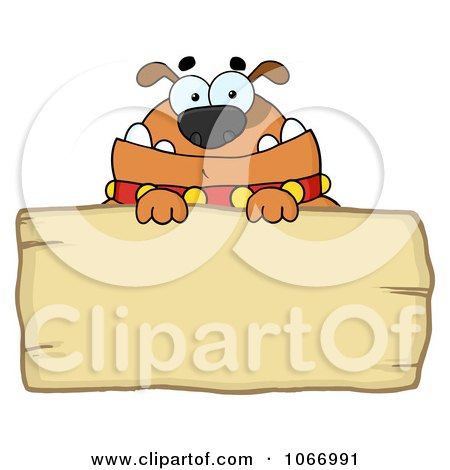 Clipart Bulldog And Wooden Sign - Royalty Free Vector Illustration by Hit Toon