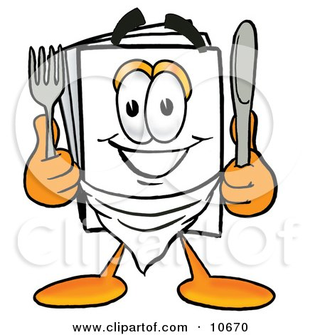 Clipart Picture of a Paper Mascot Cartoon Character Holding a Knife and Fork by Toons4Biz
