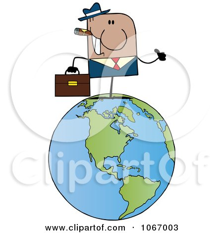 Clipart Black Businessman On A World Globe - Royalty Free Vector Illustration by Hit Toon