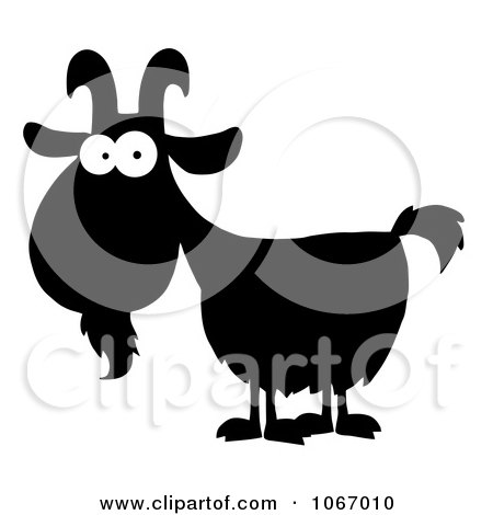 Clipart Silhouetted Goat With White Eyes - Royalty Free Vector Illustration by Hit Toon