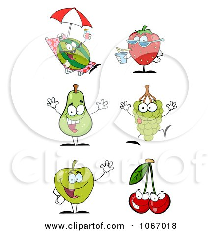 Clipart Summer Fruit Characters - Royalty Free Vector Illustration by Hit Toon