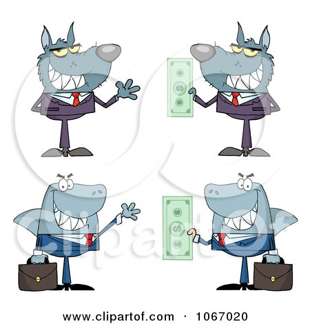 Clipart Greedy Business Wolves And Sharks - Royalty Free Vector Illustration by Hit Toon
