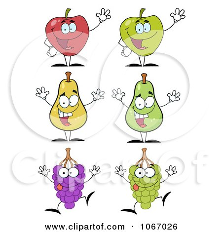 Clipart Fruit Characters - Royalty Free Vector Illustration by Hit Toon
