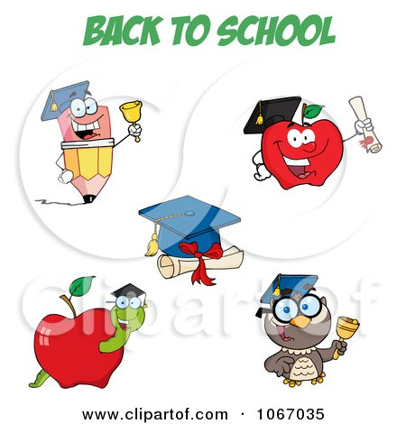 Clipart Back To School Characters 1 - Royalty Free Vector Illustration by Hit Toon