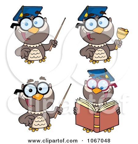 Clipart Professor Owls - Royalty Free Vector Illustration by Hit Toon