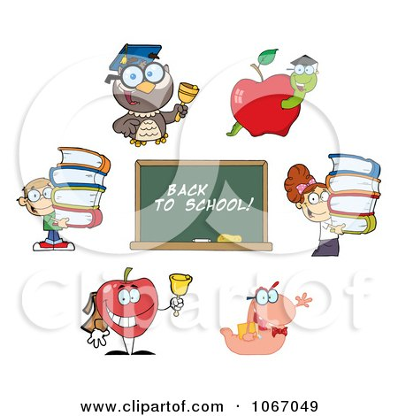 Clipart Back To School Characters 3 - Royalty Free Vector Illustration by Hit Toon