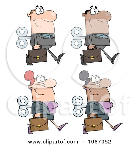 Clipart Wind Up Business People - Royalty Free Vector Illustration by Hit Toon