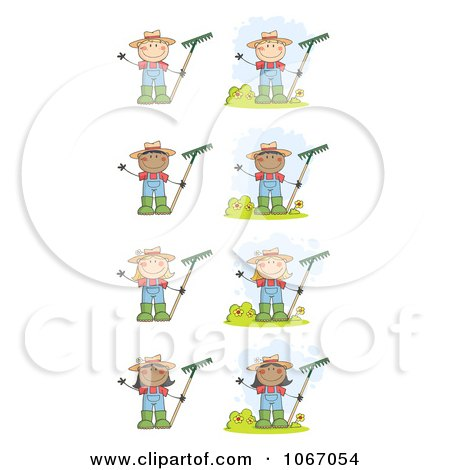Clipart Farmer Kids With Rakes - Royalty Free Vector Illustration by Hit Toon