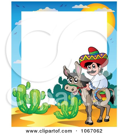 Clipart Mexican Man On A Donkey Frame - Royalty Free Vector Illustration by visekart