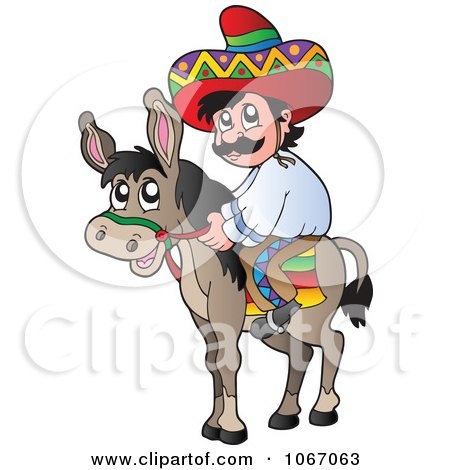 Clipart Mexican Man On A Donkey 1 - Royalty Free Vector Illustration by visekart