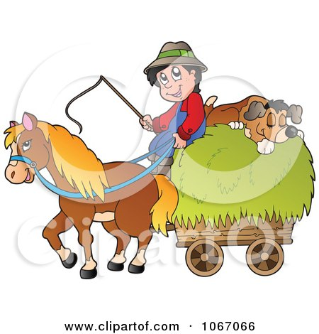Clipart Farmer With A Horse And Dog Sleeping On Hay 1 - Royalty Free Vector Illustration by visekart