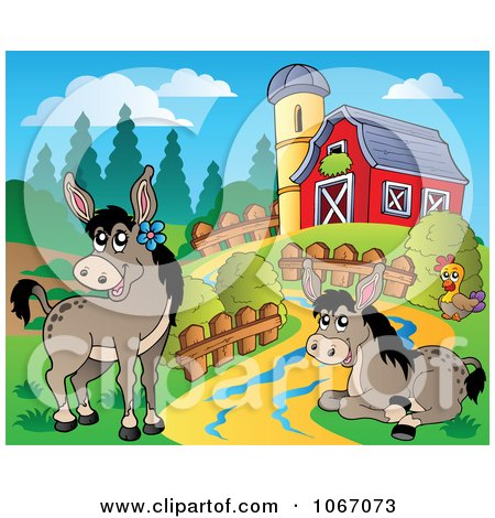 Clipart Barnyard Donkeys - Royalty Free Vector Illustration by visekart