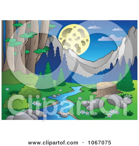 Clipart Tree Stump By A Creek In The Woods 3 - Royalty Free Vector Illustration by visekart