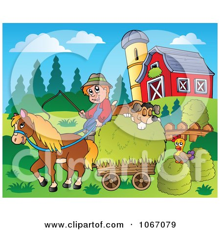 Clipart Farmer With A Horse And Dog Sleeping On Hay 2 - Royalty Free Vector Illustration by visekart