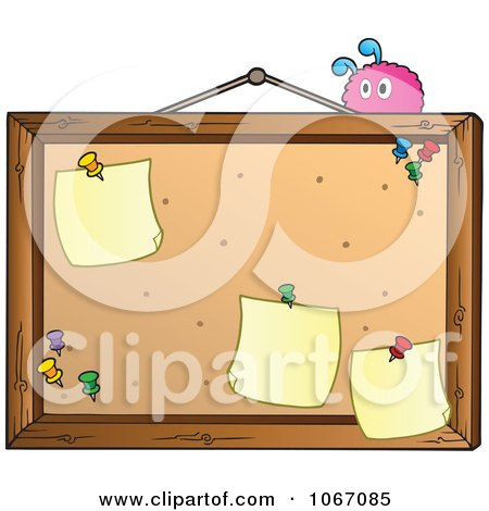 Clipart Pink Creature On A Bulletin Board - Royalty Free Vector Illustration by visekart
