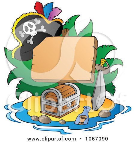Clipart Blank Sign On A Treasure Island 1 - Royalty Free Vector Illustration by visekart