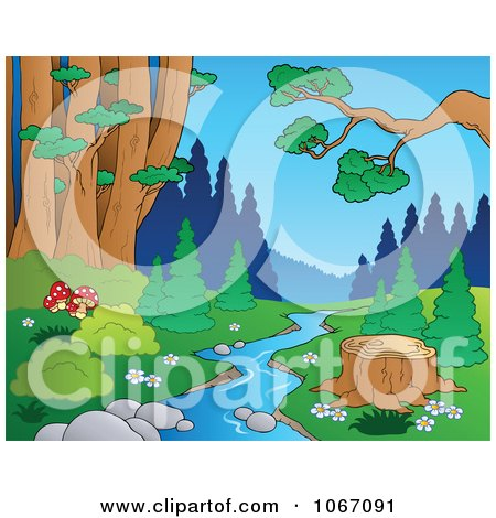 Clipart Tree Stump By A Creek In The Woods 1 - Royalty Free Vector Illustration by visekart