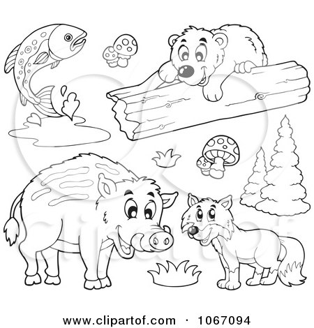 Clipart Outlined Forest Animals 1 - Royalty Free Vector Illustration by visekart