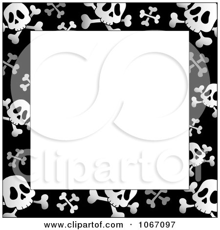 Clipart Black And White Skull And Crossbone Frame - Royalty Free Vector Illustration by visekart