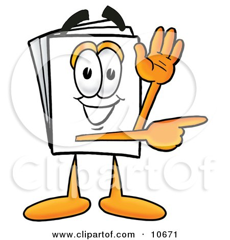 Clipart Picture of a Paper Mascot Cartoon Character Waving and Pointing by Toons4Biz