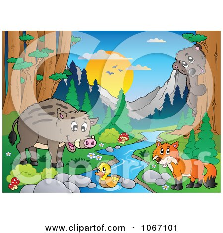 Clipart Wild Animals By A Forest Stream 3 - Royalty Free Vector Illustration by visekart