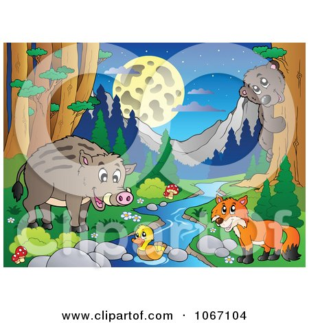 Clipart Wild Animals By A Forest Stream 4 - Royalty Free Vector Illustration by visekart