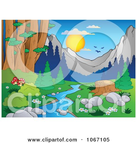 Clipart Tree Stump By A Creek In The Woods 2 - Royalty Free Vector Illustration by visekart