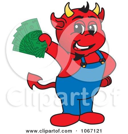 Clipart Devil Mascot Holding Cash - Royalty Free Vector Illustration by Toons4Biz