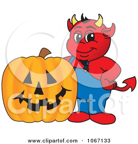Clipart Devil Mascot And Halloween Pumpkin - Royalty Free Vector Illustration by Toons4Biz