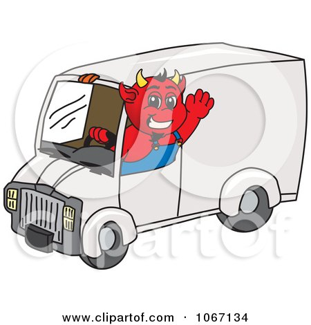 Clipart Devil Mascot Driving A Delivery Van - Royalty Free Vector Illustration by Toons4Biz