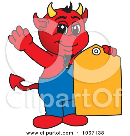 Clipart Devil Mascot With A Sales Tag - Royalty Free Vector Illustration by Toons4Biz