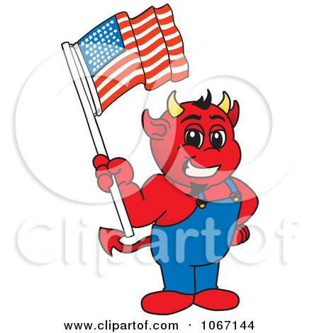 Clipart Devil Mascot Holding An American Flag - Royalty Free Vector Illustration by Toons4Biz
