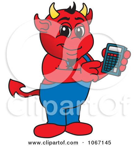 Clipart Devil Mascot Using A Calculator - Royalty Free Vector Illustration by Toons4Biz