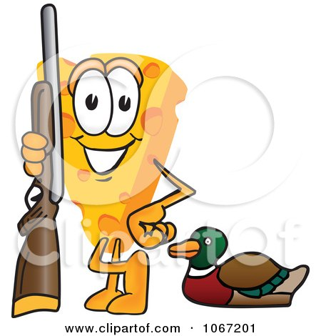 Clipart Cheese Mascot Duck Hunting - Royalty Free Vector Illustration by Toons4Biz