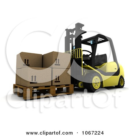 Clipart 3d Pallet And Boxes On A Forklift - Royalty Free CGI Illustration by KJ Pargeter