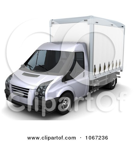 Clipart 3d White Moving Van - Royalty Free CGI Illustration by KJ Pargeter