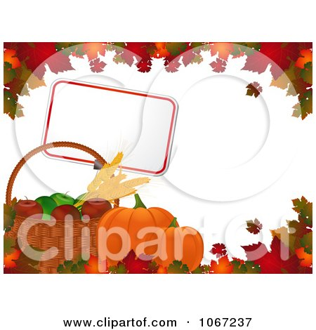 Clipart Autumn Pumpkins Sign And Fruit Bordered With Leaves - Royalty Free Vector Illustration by elaineitalia