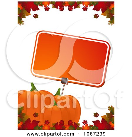 Clipart Autumn Pumpkins And A Sign Bordered With Leaves - Royalty Free Vector Illustration by elaineitalia