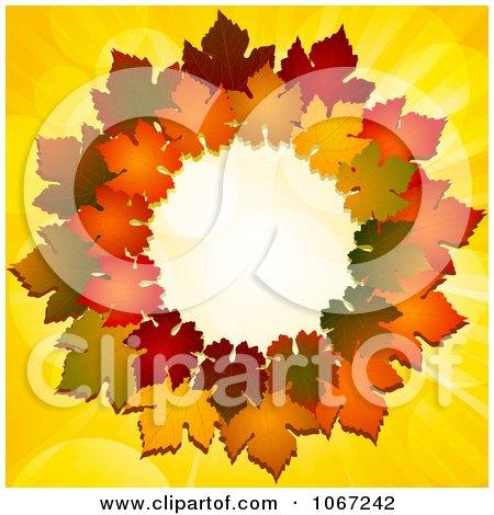 Clipart Thanksgiving Autumn Leaf Wreath - Royalty Free Vector Illustration by elaineitalia