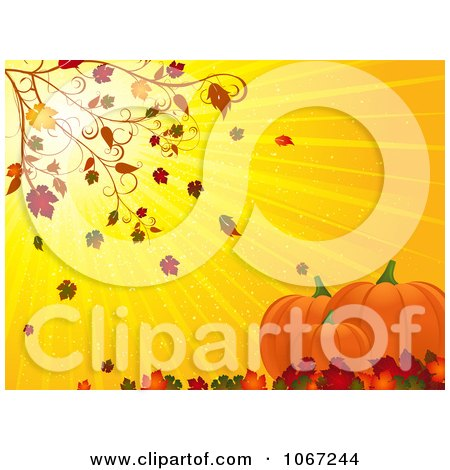 Clipart Autumn Leaves Blowing On Pumpkins - Royalty Free Vector Illustration by elaineitalia