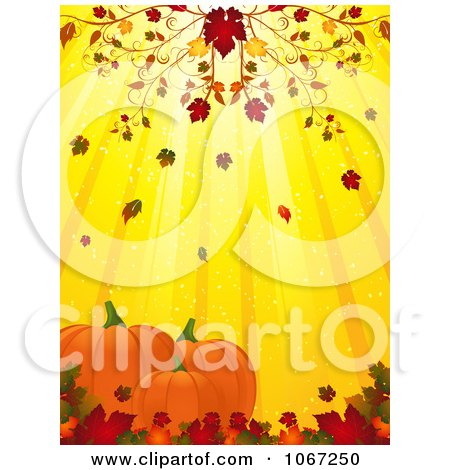 Clipart Autumn Leaves Falling On Pumpkins - Royalty Free Vector Illustration by elaineitalia