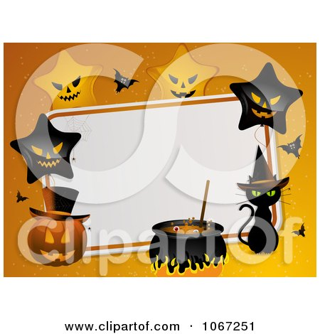 Clipart Halloween Party Background With Stars, Pumpkins And A Witch Cat - Royalty Free Vector Illustration by elaineitalia